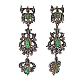 Continental 18k Gold Silver Emerald Diamond Night & Day Earrings