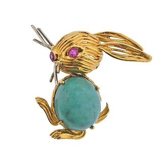 1960s 18K Gold Ruby Rabbit Brooch Pin
