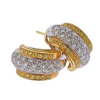 18K  Gold Fancy White Diamond Half Hoop Earrings