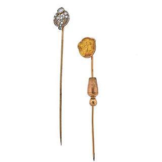 Antique Art Nouveau Deco 18k Gold Platinum Diamond Stick Pin 2pc