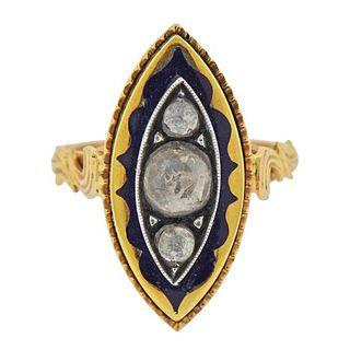 18k Gold Silver Diamond Enamel Ring
