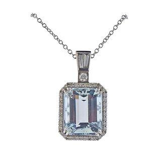 18K Gold Diamond 22ct Aquamarine Large Pendant Necklace