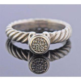 David Yurman Silver 18K Gold Diamond Cable Ring
