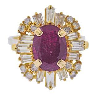18k Gold Ruby Diamond Cocktail Ring