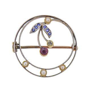 Antique 14k Gold Platinum Diamond Ruby Pearl Sapphire Brooch