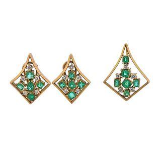 18K Gold Diamond Emerald Pendant Earrings Set