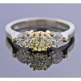 14K Gold Fancy White Diamond Engagement Ring