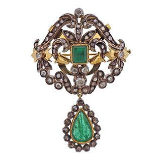 Continental 18k Gold Silver Emerald Diamond Pendant Brooch