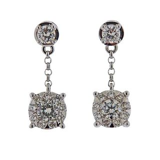 Memoire Gold 0.92ctw Diamond Dangle Earrings