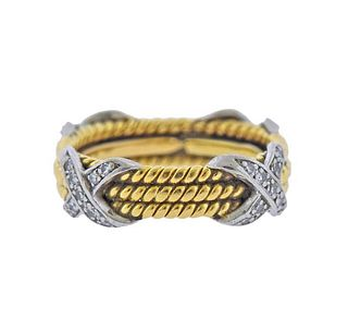 Tiffany & Co Schlumberger Rope 18K Gold Diamond X Band Ring
