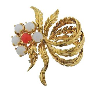 1960s 18K Gold Coral Opal Brooch Pin