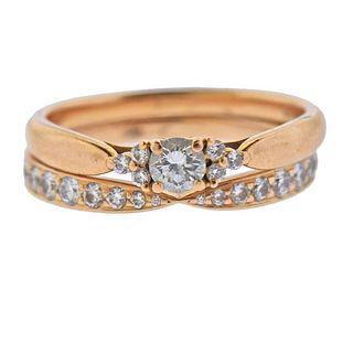 Tiffany & Co 18K Gold Diamond Ring Set