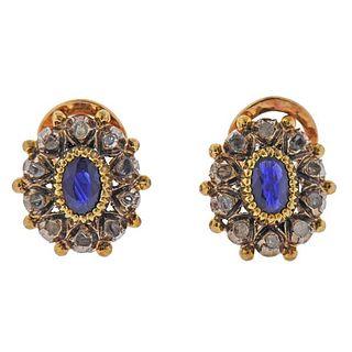 Continental 18K Gold Silver Diamond Sapphire Earrings