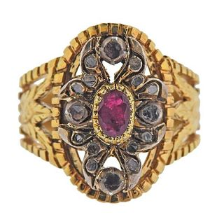 Continental 18K Gold Silver Diamond Ruby Ring