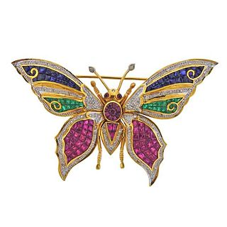 18K Gold Diamond Emerald Ruby Sapphire Butterfly Brooch Pin