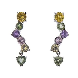 18K Gold Peridot Citrine Amethyst Earrings
