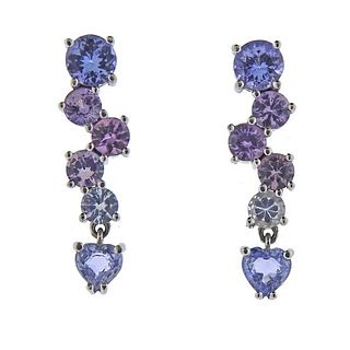 18K Gold Amethyst Quartz Topaz Earrings