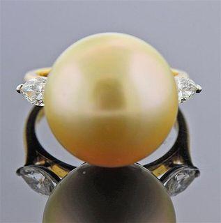 Cartier 18K Gold Platinum Diamond South Sea Pearl Ring