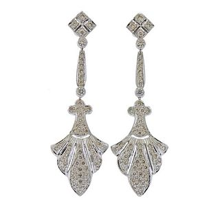 18k Gold Diamond Long Drop Earrings