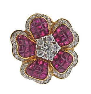 18K Gold Diamond Ruby Flower Ring