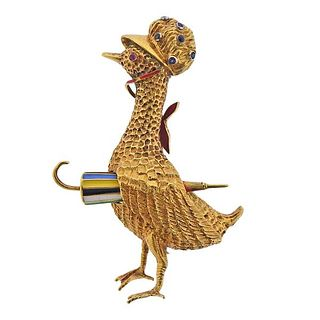 French 1960s 18k Gold Sapphire Ruby Goose Brooch Pin