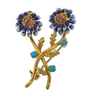 Spritzer & Fuhrmann 18k Gold Turquoise Ruby Flower Pin
