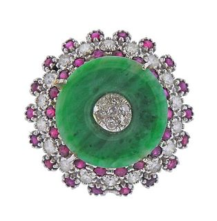 14k Gold Diamond Ruby Jade Cocktail Ring