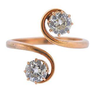 Antique 18k Rose Gold Old European Diamond Bypass Ring