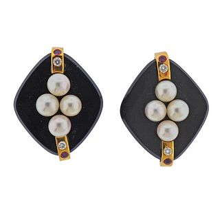 18k Gold Diamond Onyx Ruby Pearl Earrings