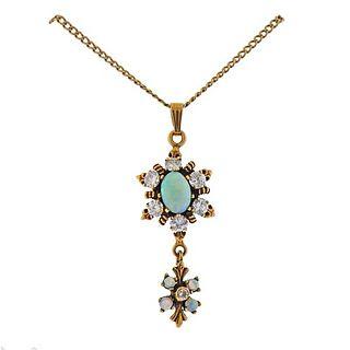 Antique 14k Gold Diamond Opal Pendant Necklace