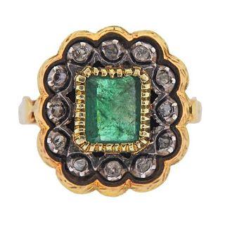 Continental 18k Gold Silver Emerald Diamond Ring