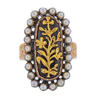 Continental 18K Gold Silver Pearl Enamel Ring