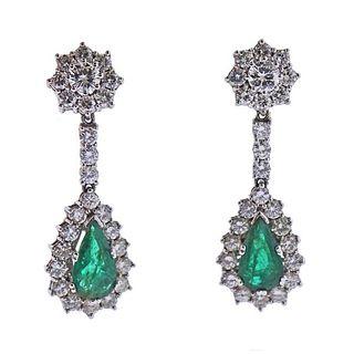 18k Gold Diamond Emerald Drop Earrings