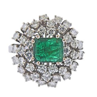 18k Gold Diamond Emerald Cocktail Ring