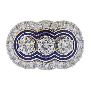 14k Gold Diamond Enamel Ring