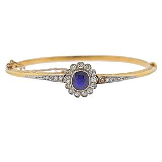 Antique 18K Gold Platinum Diamond Sapphire Bangle Bracelet