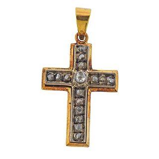 Continental 18K Gold Silver Diamond Cross Pendant