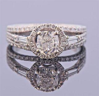 GIA 1.02ct H SI2 Diamond 18k Gold Engagement Ring