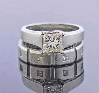 Jeff Cooper AGA 1.00ct L SI1 Diamond Platinum Engagement Ring Set