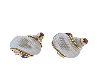 Seaman Schepps 14k Gold Turbo Shell Ruby Earrings
