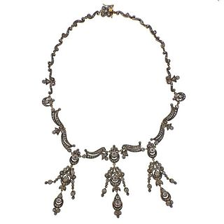 Continental 18K Gold Silver Diamond Necklace