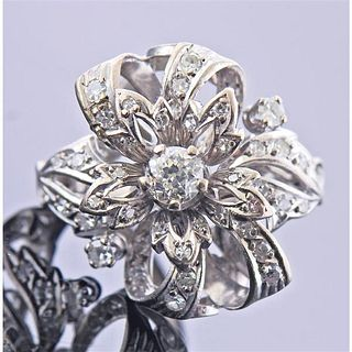 Mid Century Platinum Diamond Ring