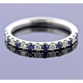 Blue Nile 18K Gold Diamond Sapphire Wedding Band Ring