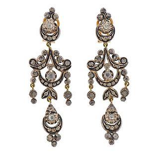 Continental 18K Gold Silver Diamond Chandelier Drop Earrings