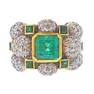18K Gold Diamond Emerald Wide Band Ring