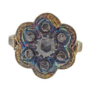 18K Gold Silver Diamond Floral Ring