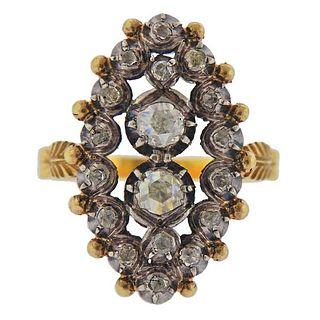 Continental 18K Gold Silver Diamond Ring