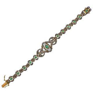 Continental 18k Gold Silver Emerald Diamond Bracelet