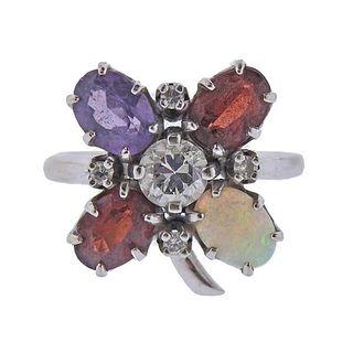 Mid Century 14k Gold Amethyst Opal Diamond Garnet Ring