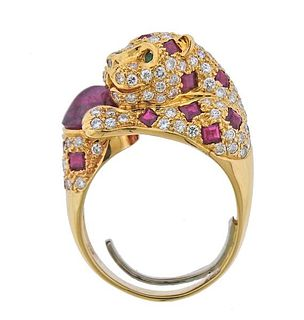 18k Gold Diamond Ruby Emerald Leopard Ring
